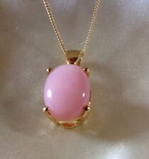 5.75 Ct, Peruvian Pink Opal Pendant, Gold Plated  Sterling Silver