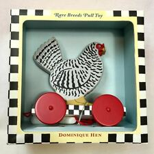 Colonial Williamsburg Dominique Hen Wooden Pull Toy, New in Box