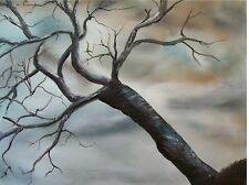 Landscape Oil Painting Of Tree On Canvas, Original Art, Realism, Winter