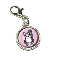 Sugar Glider on Pink - Antiqued Bracelet Pendant Charm with Lobster Clasp