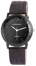 Donna Kelly Black Clock Trendy Women Watch analoge Pu Leder Damenuhr Quartz Neu