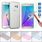 Ultra Slim Clear Gel Skin Case Cover & Tempered Glass for Samsung Galaxy Phone