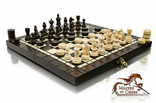 "SUPERB ""OLYMPIC"" TOURNAMENT WOODEN CHESS SET + DRAUGHTS 35x35cm!"