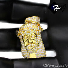 MEN 925 STERLING SILVER LAB DIAMOND ICED OUT BLING JESUS FACE GOLD PENDANT*GP32