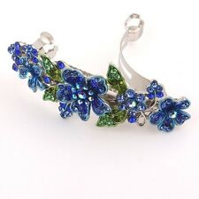 Sparkling beautiful silver tone rhinestone crystal flower hair clip barrette 99