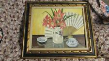 VINTAGE OIL ON BOARD PAINTING SAIGON BY HELANE B WINCHESTER ORIENTAL STILL LIFE