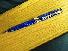 Vintage AURORA OPTIMA BLUE MARBLED GOLD TRIM PEN