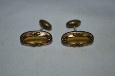 CUFFLINKS  ANTIQUE ART NOUVEAU VICTORIAN GOLD TONE ROMANESQUE REPOUSSE
