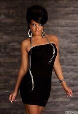 sexy Trägerloses Bandeau - Minikleid Kleid Streifen Struktur schwarz 34 36 38
