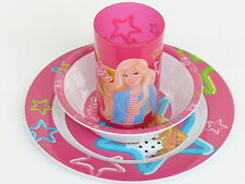 Kindergeschirr BREAKFAST-SET BECHER TELLER MÜSLISCHALE Barbie