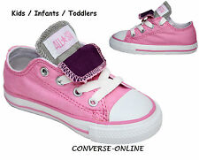 Girl Kids CONVERSE All Star PINK PURPLE DOUBLE TONGUE OX Trainers Shoe SIZE UK 7