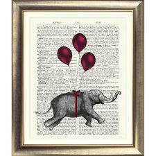 ART PRINT ORIGINAL ANTIQUE BOOK PAGE OLD Dictionary Vintage ELEPHANT RED BALLOON
