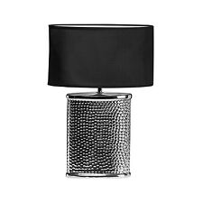 REGENTS PARK HAMMERED CHROME CERAMIC BASE FABRIC SHADE BEDSIDE TABLE LAMP LIGHT