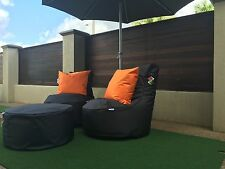 Bean Bag Set: 2 Chairs + stool Resort style durable quality outdoor Adora