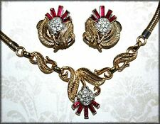 RARE Red THISTLE ~ Crown Trifari ~ Alfred Philippe ~ ca 1950 Necklace & Earrings