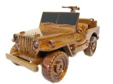 WWII Willys Jeep Army Marine Military Patrol Truck Wood Wooden Mahogany Model