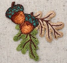 Iron On Embroidered Applique Patch Acorn Oak Tree Fall Autumn Brown/Green Leaves