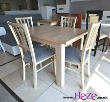 SET of extending dining table and 4 wooden chairs, strong and solid, oak sonoma
