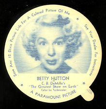 1952 DIXIE CUP NELSON'S ICE CREAM BETTY HUTTON TV MOVIE STAR NM FREE SHIP USA