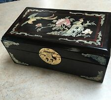 Vintage Retro Black Lacquered Jewellery Box Inlayed Mother of Pearl