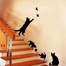 3D Cat Play Butterfly Wall Sticker Vinyl Removable Room Decal Pretty Home Decor