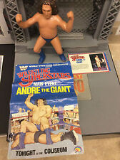 LJN WWF Wrestling Superstars Long Hair Andre The Giant Figure W/ Poster & Card