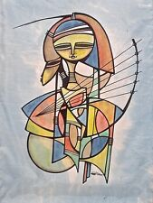 Abstract Art Painting Silk Illegible Signature 03197