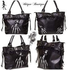 Banned Gothic Skeleton Hand Bones Shoulder Bag Lace Handbag Halloween Black
