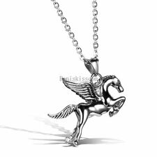 Silver Stainless Steel Running Horse Pendant Men's Necklace Birthday Gifts