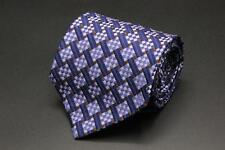 FACONNABLE Silk Tie. Blue with Purple & Brown Geometric.