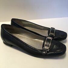 Talbots Woman's Flats Blue Leather Horsebit Sz 8.5 Made In Brazil