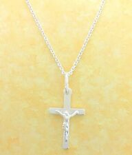 Sterling Silver Kids Baby Crucifix Cross Charm Children's Necklace 16""