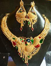 Sale..... Indian 22k Gold Plated Peacock Meenakari Necklace Earrings Wedding Set