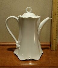 """HUTSCHENREUTHER Racine WHITE COFFEE POT with LID FINE CHINA ~6"""" tall (7"""" w/ lid)"""