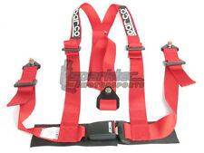 Sparco Racing Seat Belt Safety Harness Street Tuner Red 2-Inch 3-Point Bolt-In