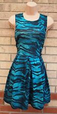 BOOHOO GREEN LEOPARD ANIMAL PRINT SKATER FLIPPY A LINE TEA VTG DRESS 10 S
