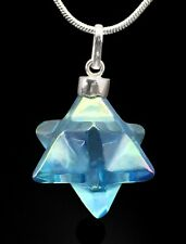 Aqua Aura Merkaba Pendant .925 SS Sterling Silver Pendant Comes with Free Chain