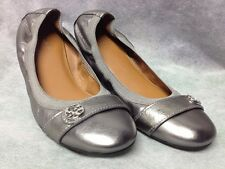 Coach Chelsea Flat Round Toe Leather Ballet Flat Women's Shoe Size 8.5 Silver