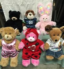 Build A Bear ~ Lot of 6 Plush Animals ~ Bunny, Bear, Dog, Monkey ~ with Clothes