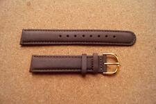 18MM BROWN STITCHED LEATHER WATCH STRAP WITH GOLD  BUCKLE