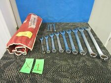 "12 PC PROAMERICA COMBINATION WRENCH SET 1"" 5/16"" TOOL ROLL MECHANIC GARAGE USED"