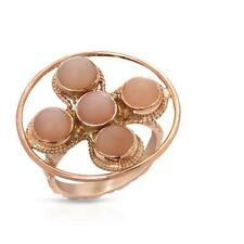 925 SS 10K ROSE GOLD PLATED 4.98 CTW MOONSTONES COCKTAIL RING SIZE R / 9