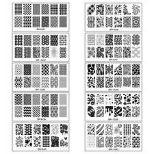 Bundle Monster 10pc Extra Large Full Nail Art Retangular XL Stamping Plates:1-10