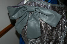 NEW Large Silver Sequin Shoulder Bag Pocket Faux Leather trim Work School tote
