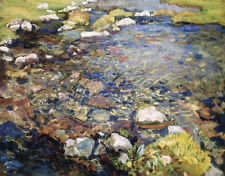 Val d Aosta A Stream over Rocks by John Singer Sargent Giclee Canvas Print Repro
