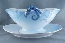 B and G Bing and Grondahl Seagull Handled Gravy Boat with Attached Tray
