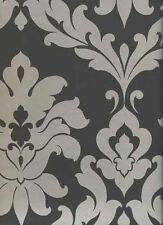 Bold, Silver Damask on Black Wallpaper VG26226