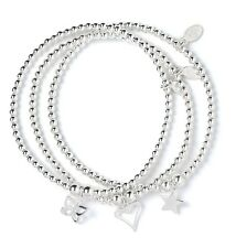 Sterling Silver Ball Bead Bracelet Set of 3 Open Heart, Butterfly & Star Charms