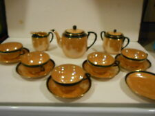 14 PC Tea Set Nippon Lusterware Black & Orange China Made in Japan