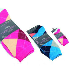 12 Pairs Ladies Classic Argyle Design Socks Shoe Size 4-7